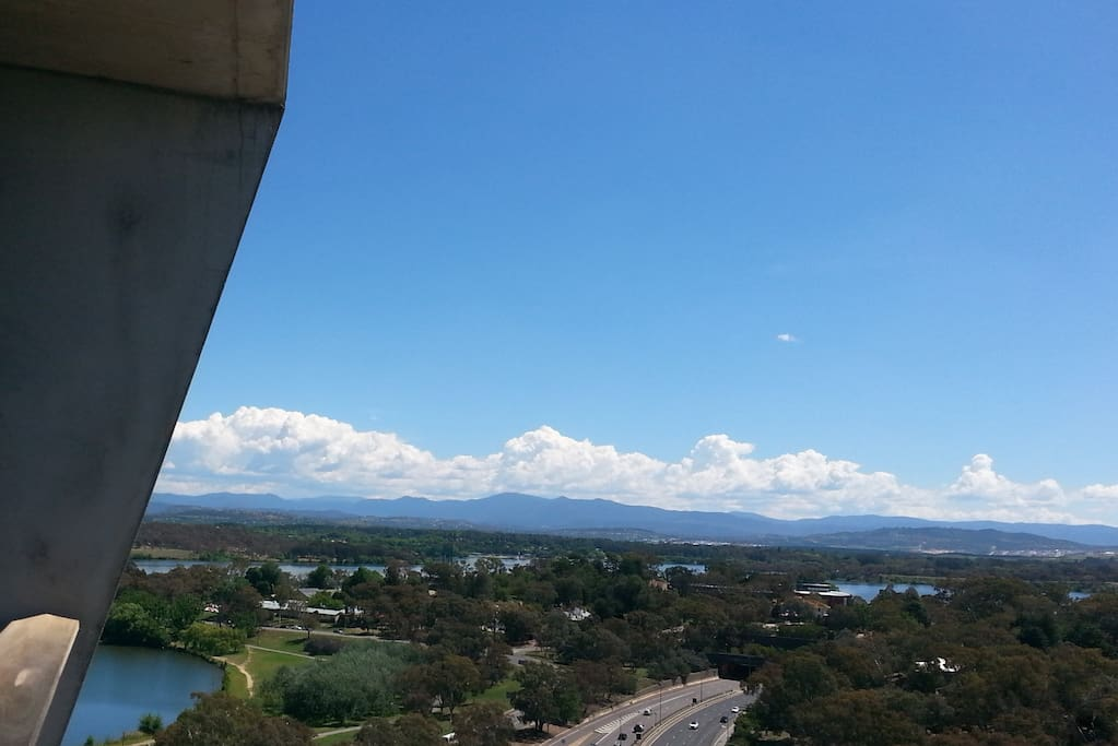 View from the balcony, facing south-west, across West Lake in Lake Burley Griffin, to the Brindabella Mountains.