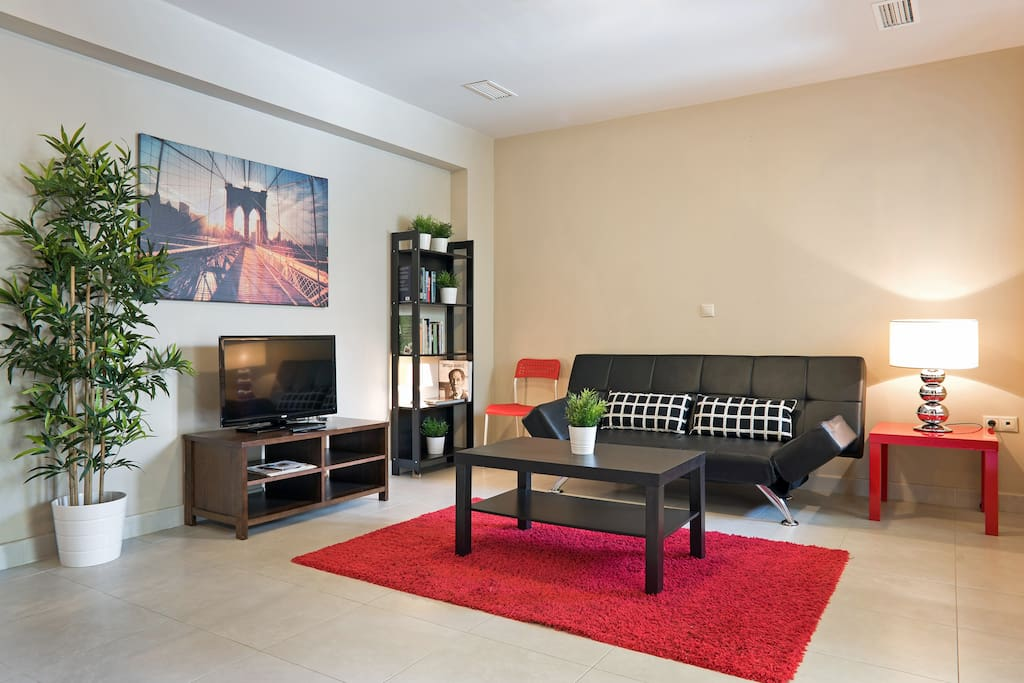 The apartment is Brand New in an immaculate shape, the living room is very large, the sofa bed perfect for an extra couple.