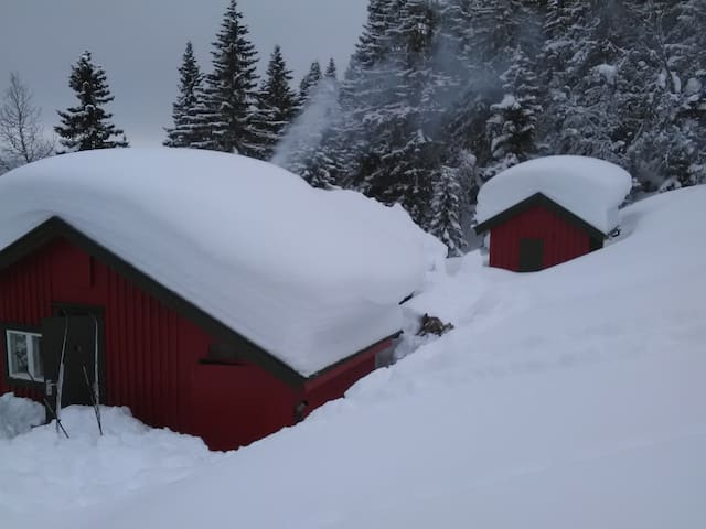 To the left you can see the main cabin.  Ande the sleeping cabin to the right
