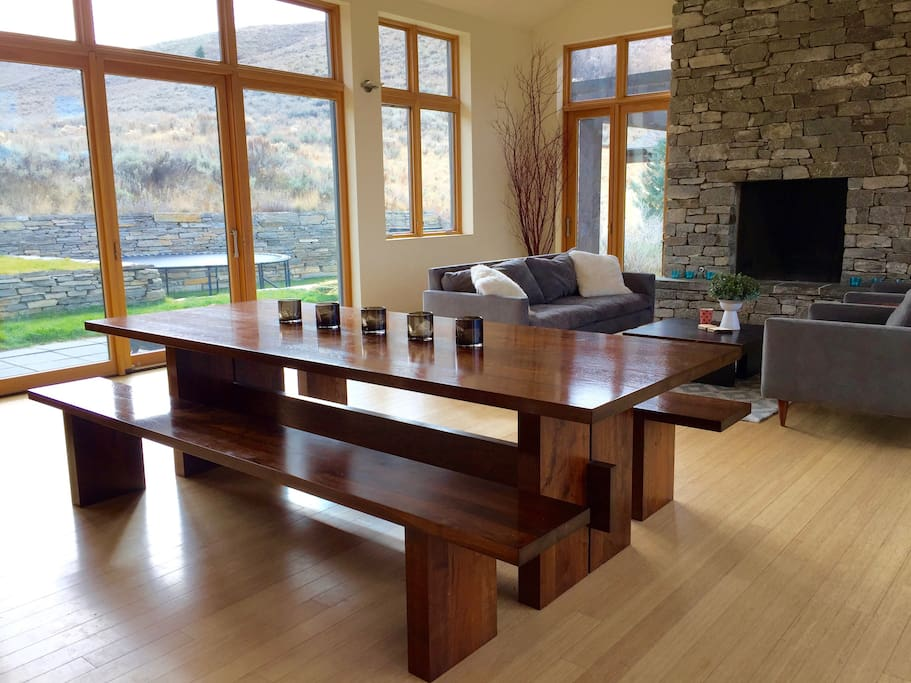 Dining room table with view south