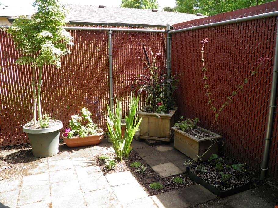 There is a small backyard area accessible in the warmer months.