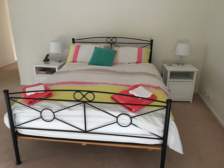 Very spacious main room with Queen Bed.