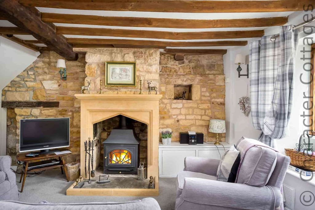 ...including exposed Cotswold stone walls