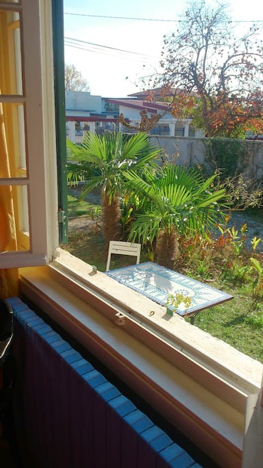 Grande fenêtre à l'ouest avec vue sur le jardin