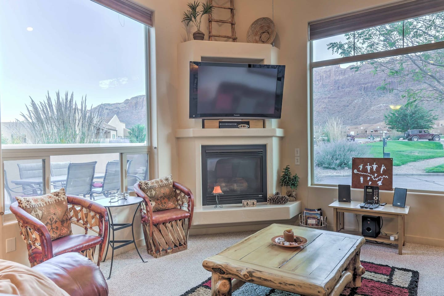 Kick back in the living room for mountain views through the large windows.