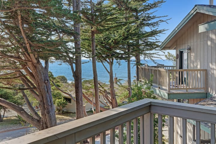 Upscale ocean view studio w/ deck, grill & entertainment system - right in town!
