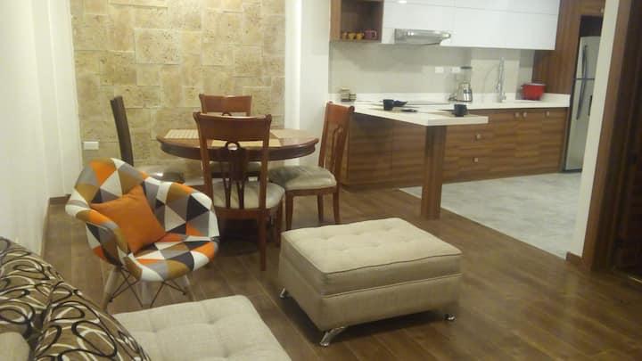 Cálido, acogedor y nuevo Apartamento