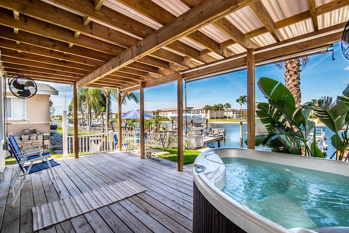 Tropical Waterfront Home with Hot Tub and Dock