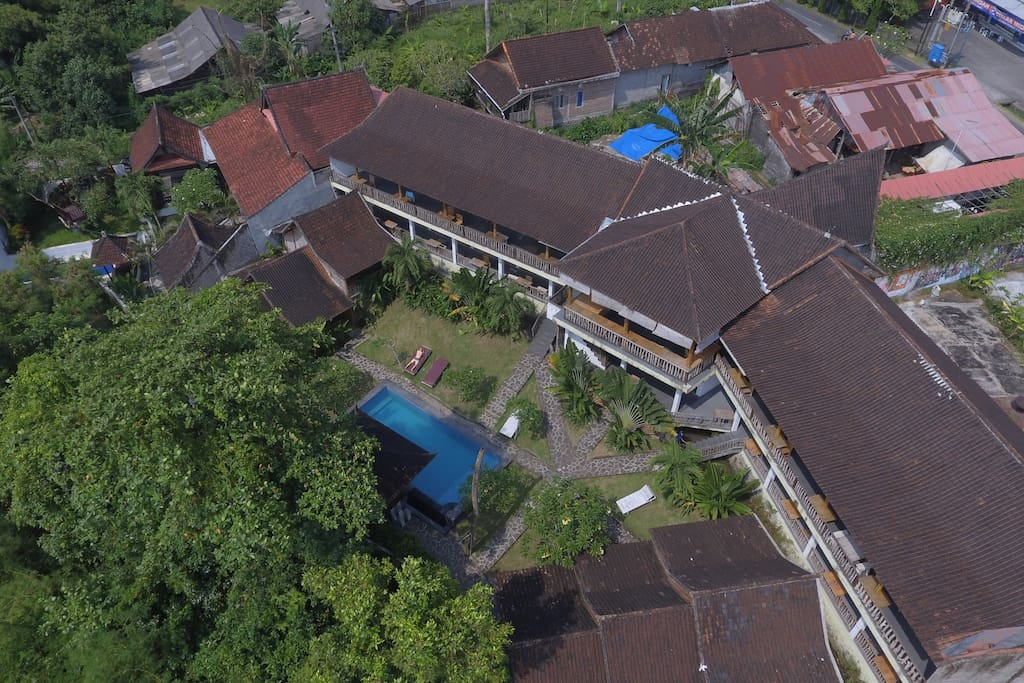 view of the villa from the air