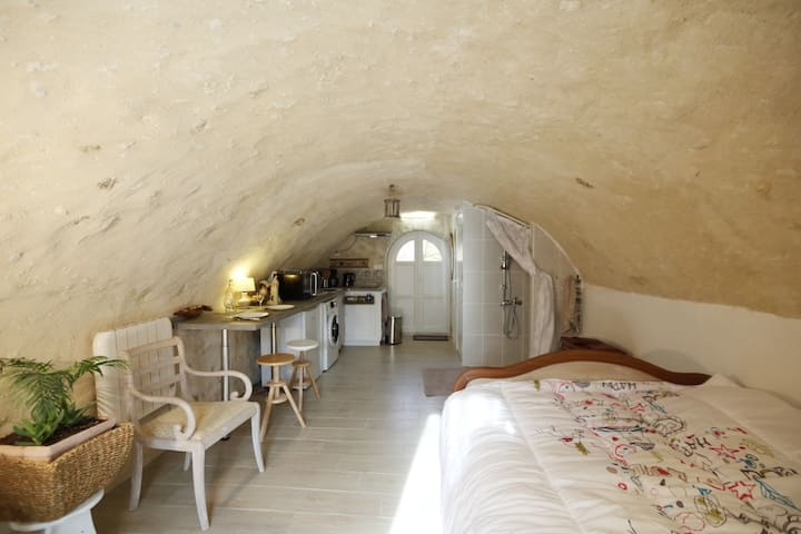 An old wine cellar transformed into a studio
