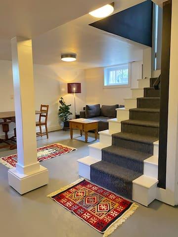 Daylight basement flat & garden view kitchenette