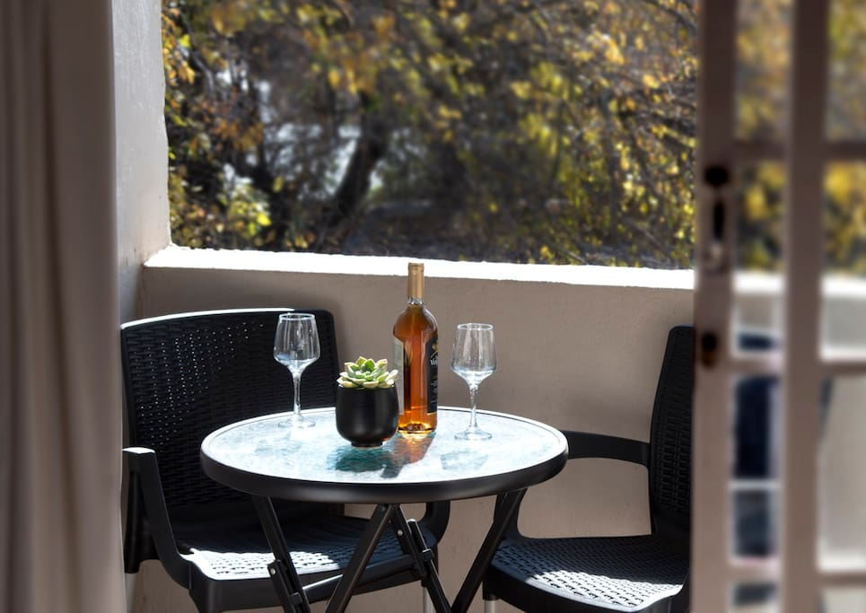 Balcony in the trees off bedroom.