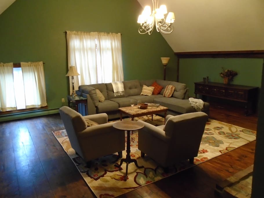 Our Great Room, perfect for reading, playing games, having a glass of wine, or simply relaxing after a long day of enjoying Vermont.