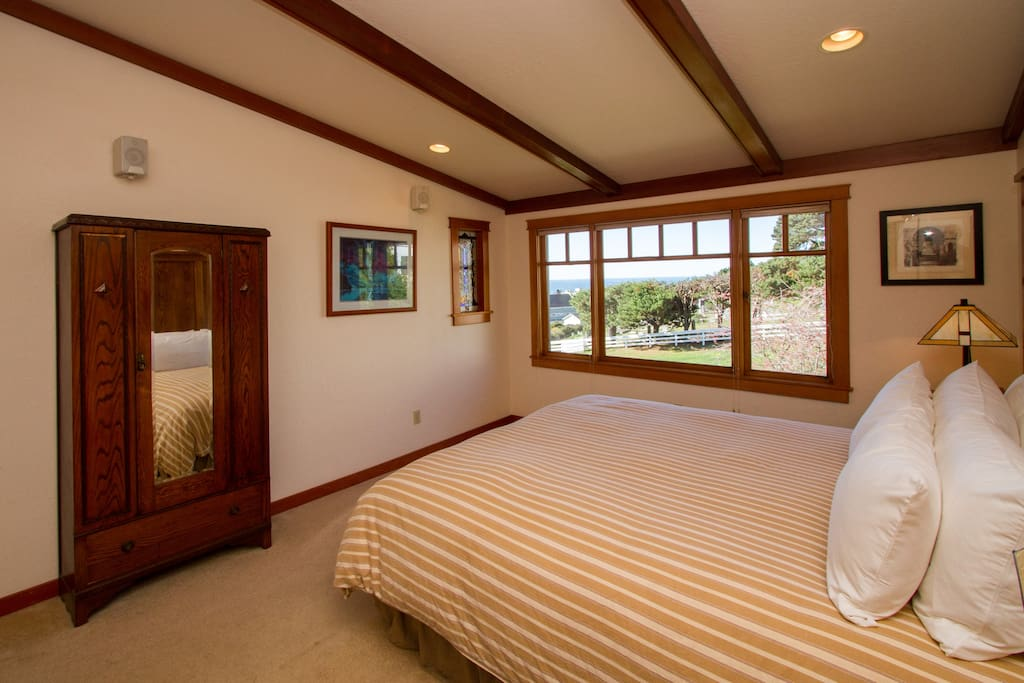 The master bedroom with king-sized bed.