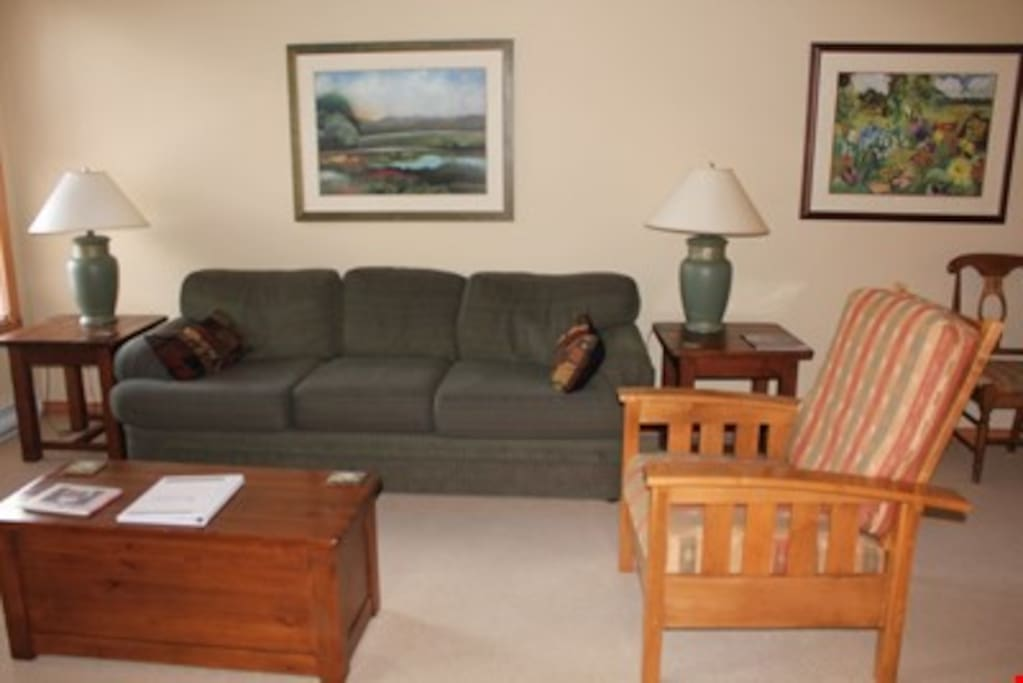 Retreat back to the two bedroom mountainside condo and relax in the spacious living room.