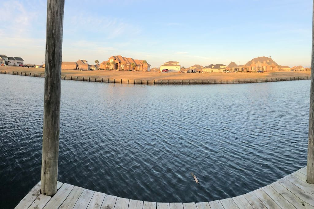 Chateau de Lis! Here is a backyard panoramic view from the boat/fishing dock. Talk about a sight for sore eyes!