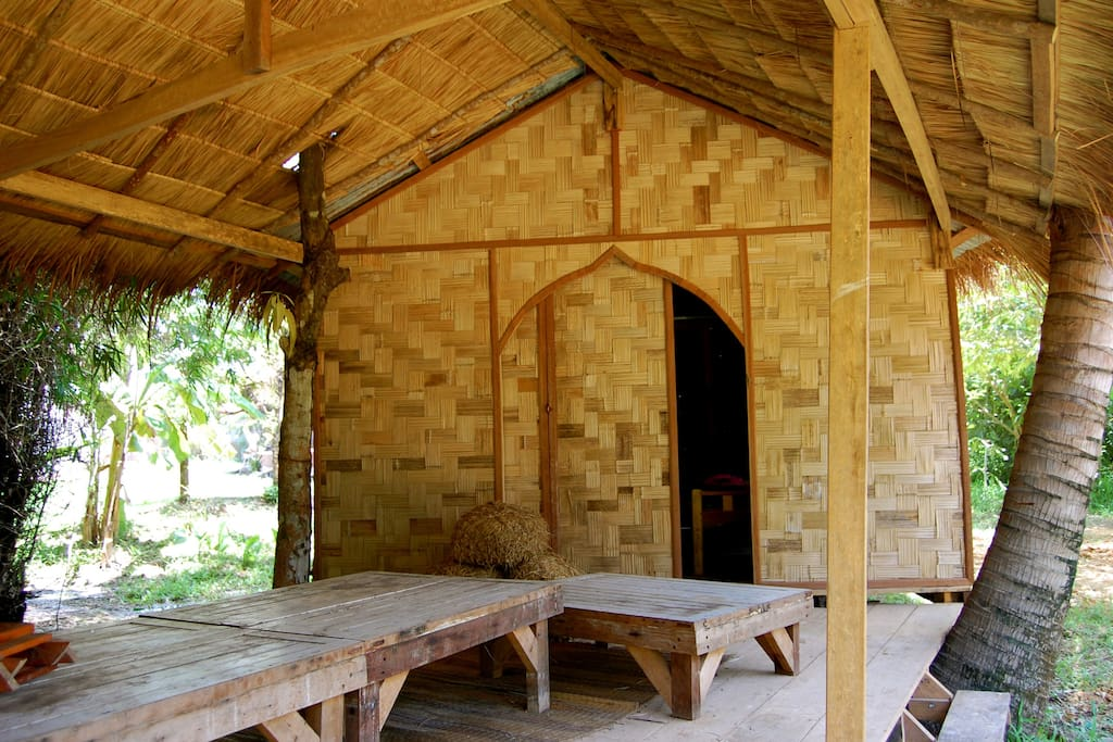 Bungalows are crafted with all natural materials.