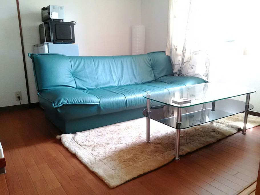 Living room with leather sofa. If you are more than 3 people, this sofa can be bed.