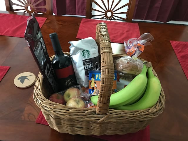 Filled free basket for weekend group.