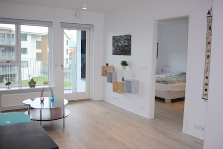 Brand new cozy one bedroom apartment. Great location! Flybus takes you to the house and back to the airport. Walking distance to all the main attractions in Reykjavík. Free parking space in a lock up garage. Free Wi-Fi!