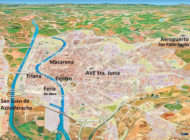 Apto. 2 habit. 2/4 pers. WiFi. Cerca Sevilla. - San Juan de Aznalfarache - Apartamento
