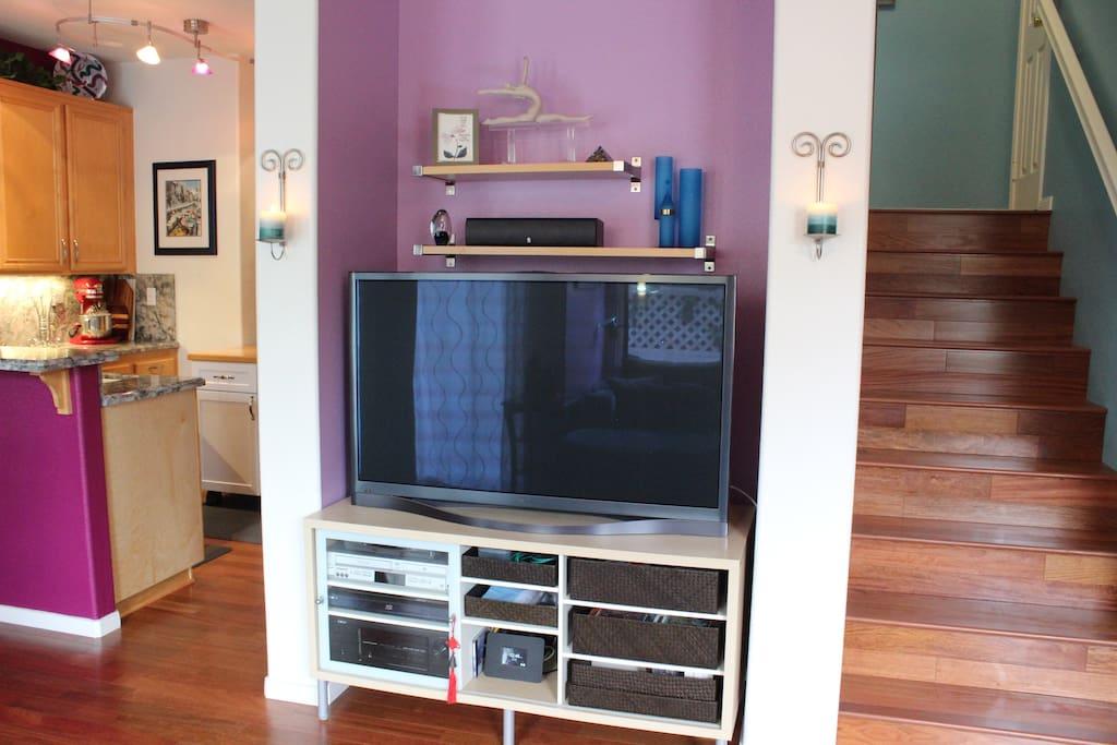 "1st Floor: Surround sound entertainment center with 52"" TV"