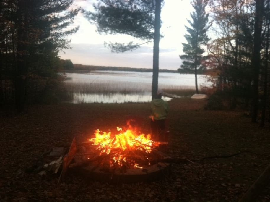 Bonfire and Lake View from Deck