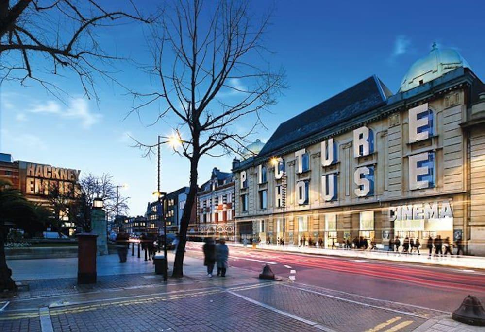 Explore the vibrant area of Hackney, including the amazing cinema.