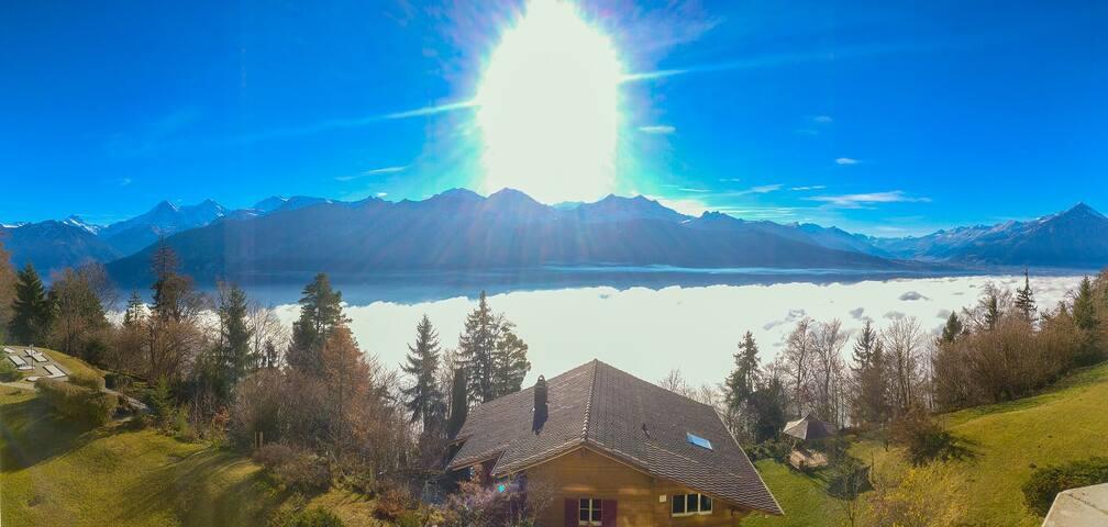 Gemütliche Wohnung über den Wolken mit Alpenblick