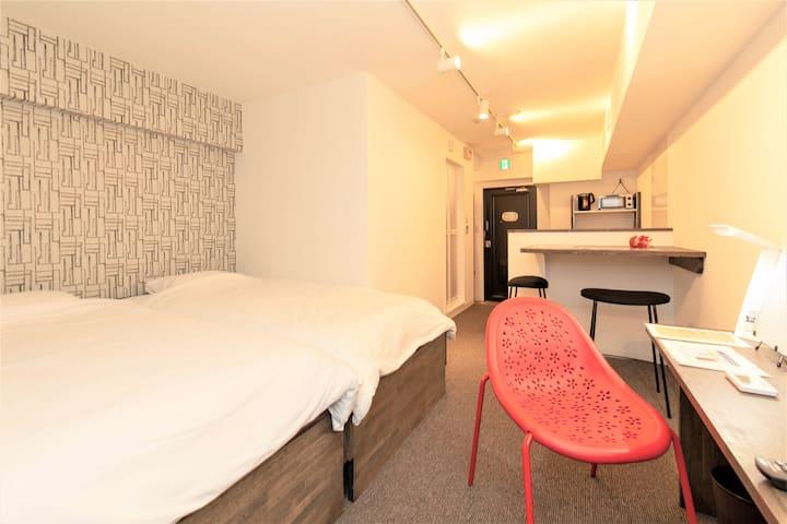 205号 Hotel's apartment inOsaka/pocket wifi /used for business/ Renovated room / Clean & Beautiful!