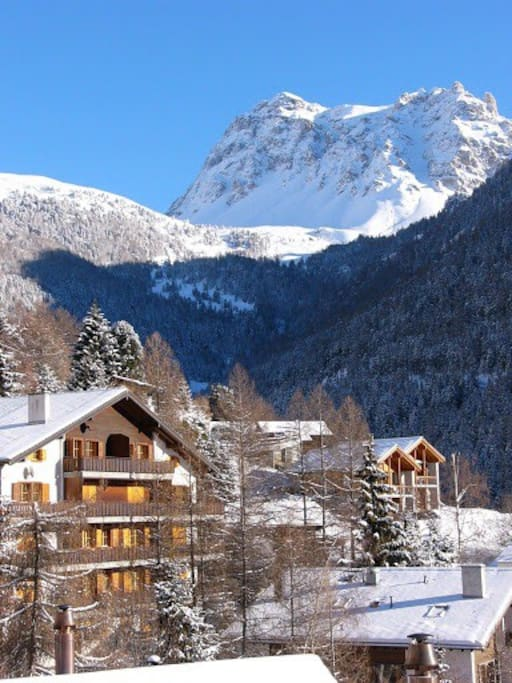 Back View of the chalet with 12 individual appartements