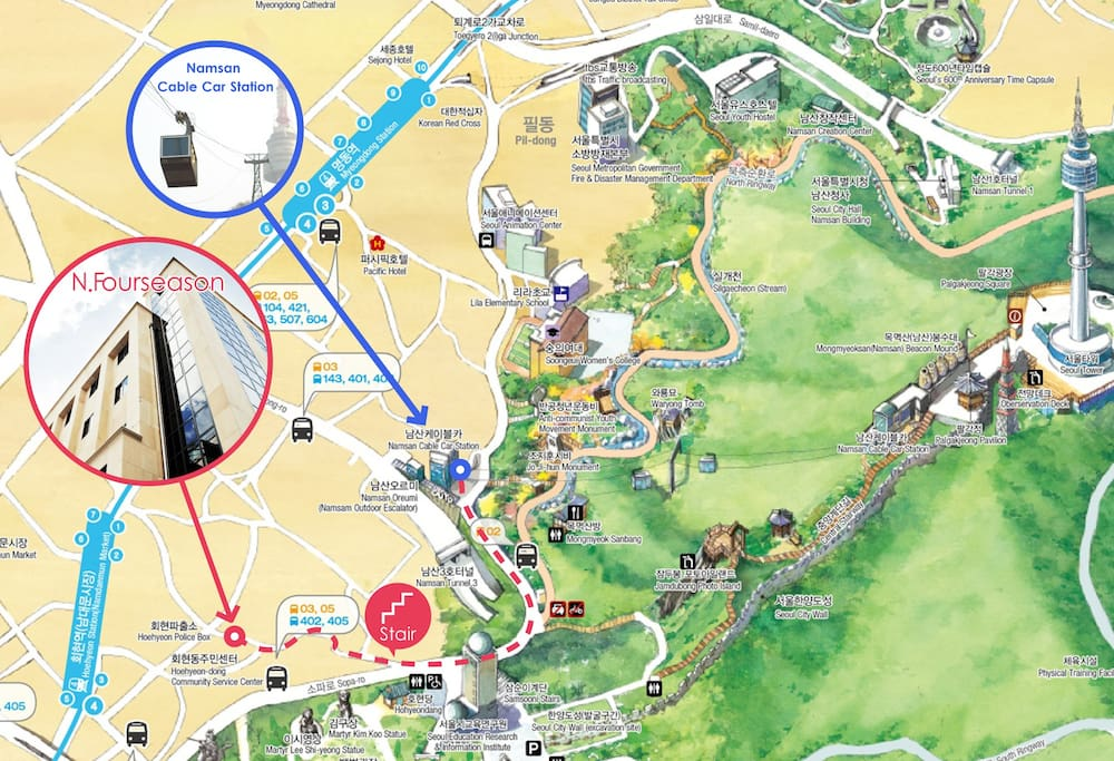 Distance between N.fourseason and  Namsan cable car station