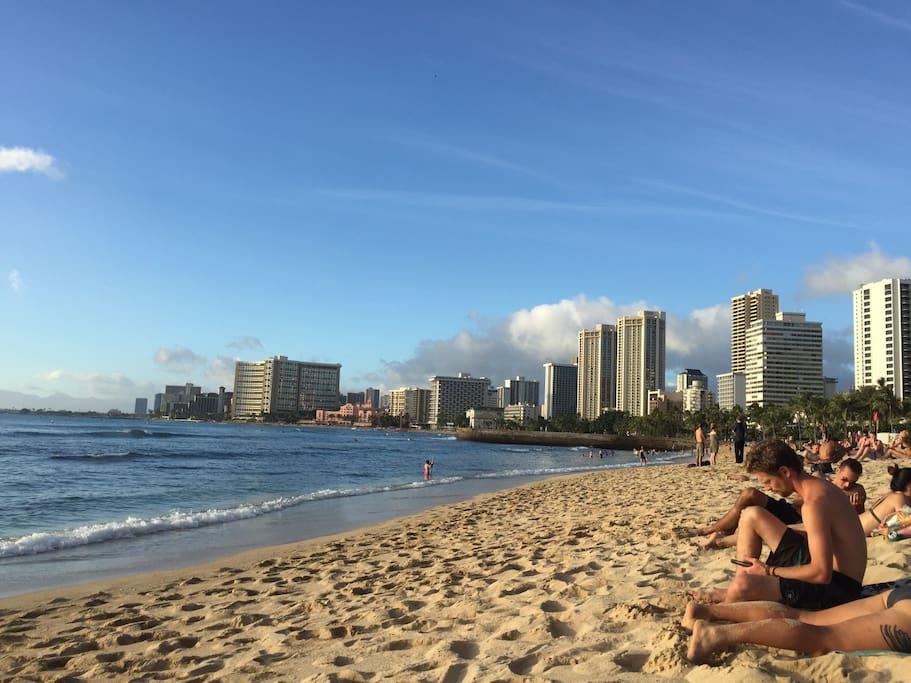 Waikiki beach from Queens beach