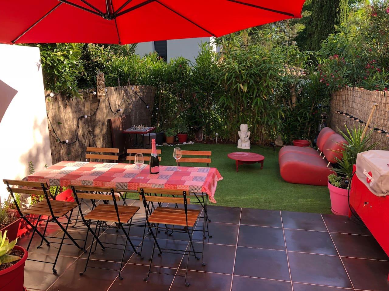 Une terrasse jardin paisible