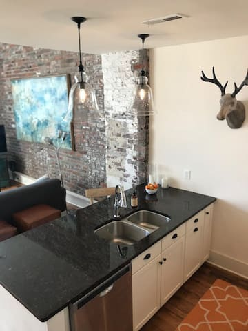 open kitchen keeps you (and the deer) near the action