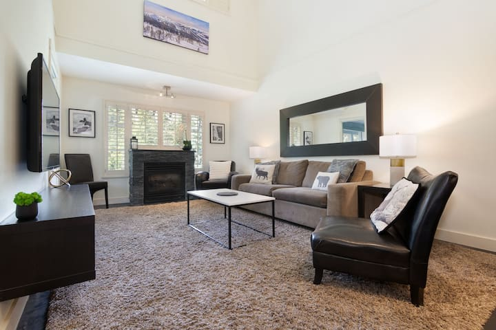 Spacious living room with fireplace, tv, cable and wifi