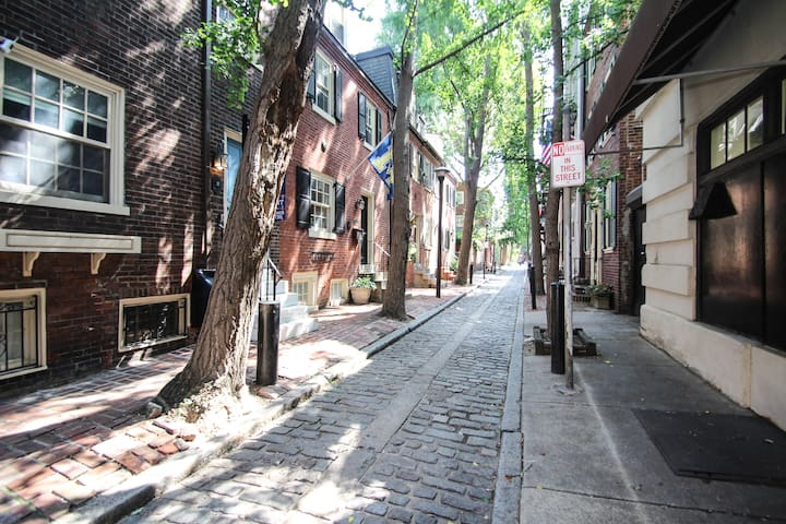 """Alley along the side of our building  """"This apartment blew my expectations away. Everything was perfect. It is located in a very central location near broad street and near PATCO stations. Everything was so clean."""""""