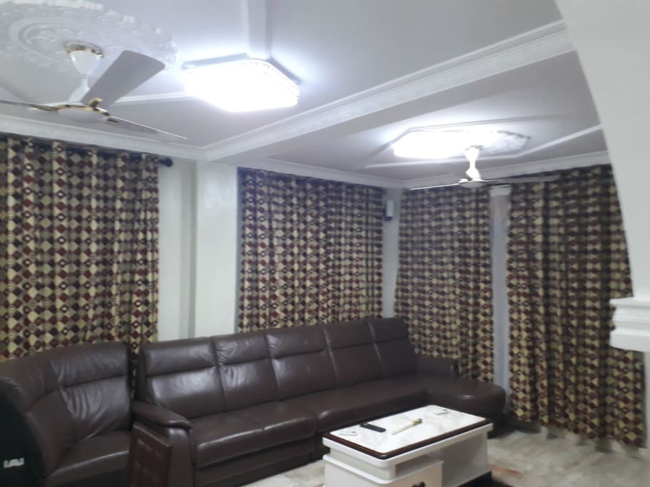 fully furnished Hall with LCD screen TV