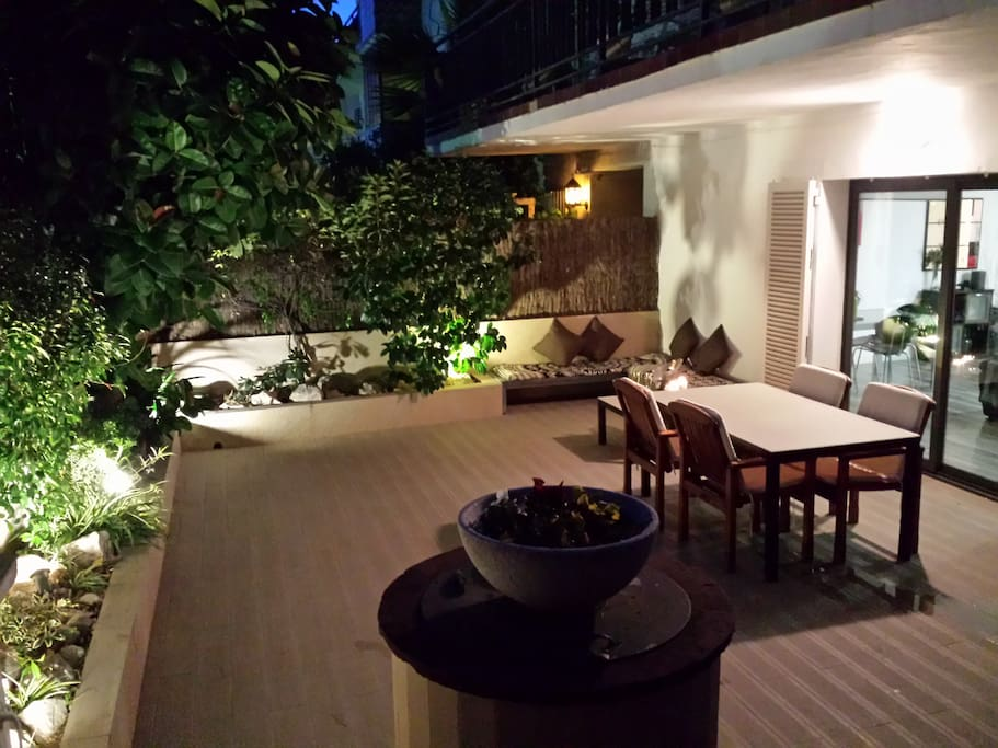 Night outside patio area with indirect lighting