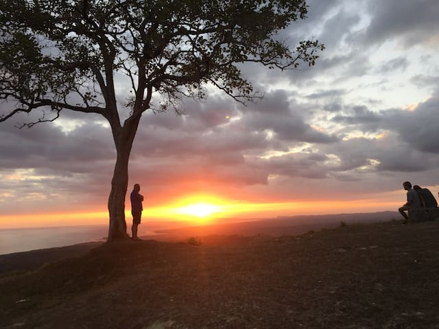 My husband enjoying the sunset on top of the hill.