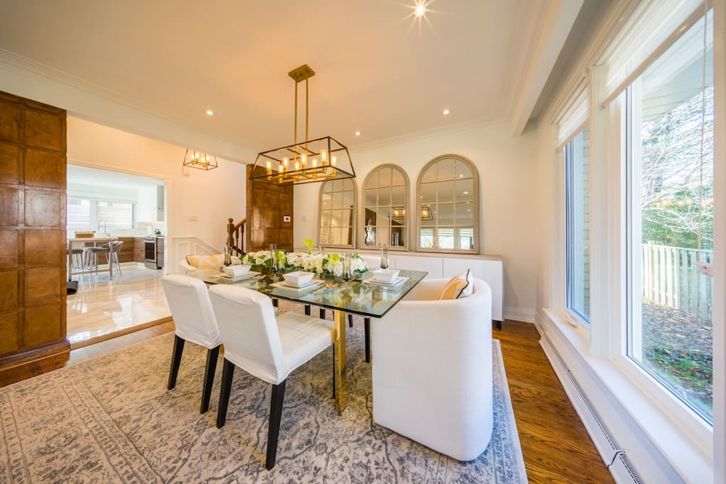 Large dining room ideal for family meals.