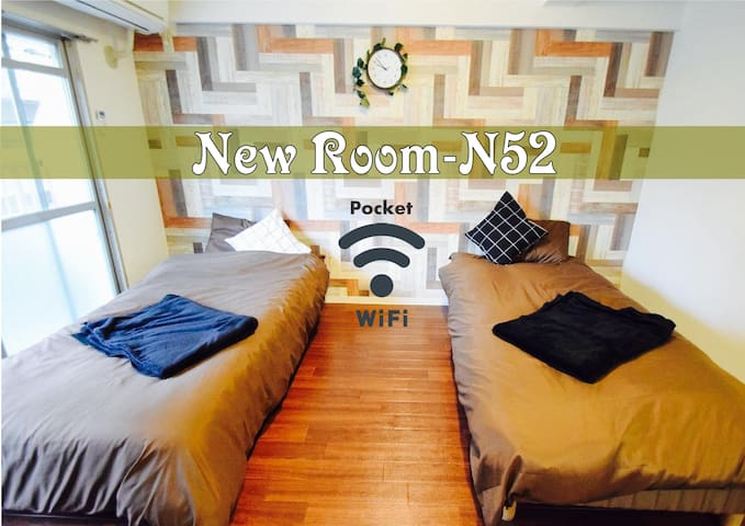 N52★New Open Price★near Namba★Pocket Wi-Fi:) - Naniwa Ward, Osaka - Appartement