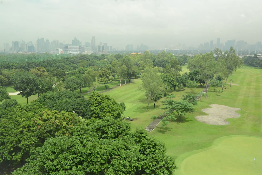 The Villamor golf course - actual view from the elevator waiting area.