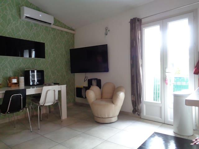 Appartement climatisé, situé route de Collioure.