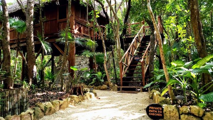 Genuine Eco Tree Houses sleeps 8 in Tulum Jungle