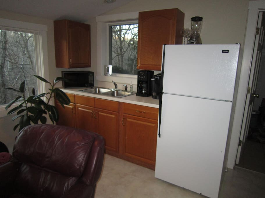 Kitchenette with refrigerator/freezer, coffee maker, microwave and sink.