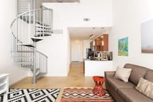 Living Area, Kitchen & Staircase