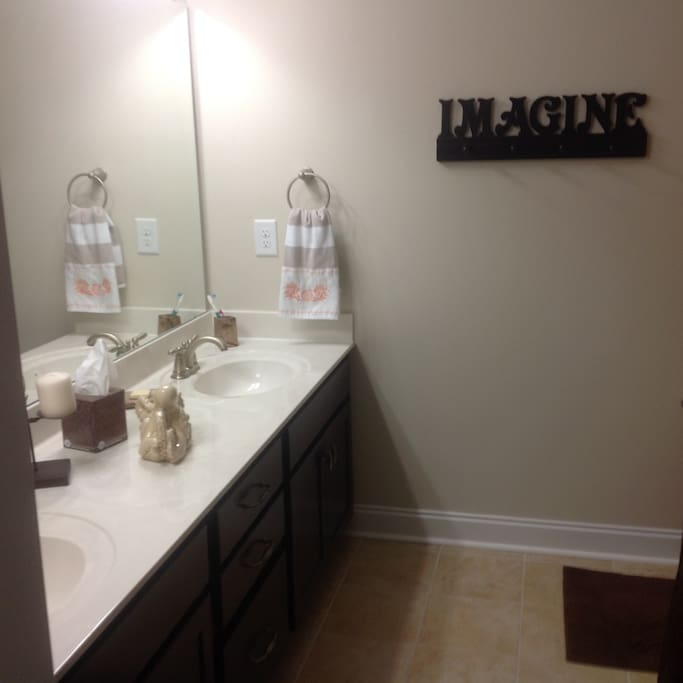 Private Bath with double sink vanity