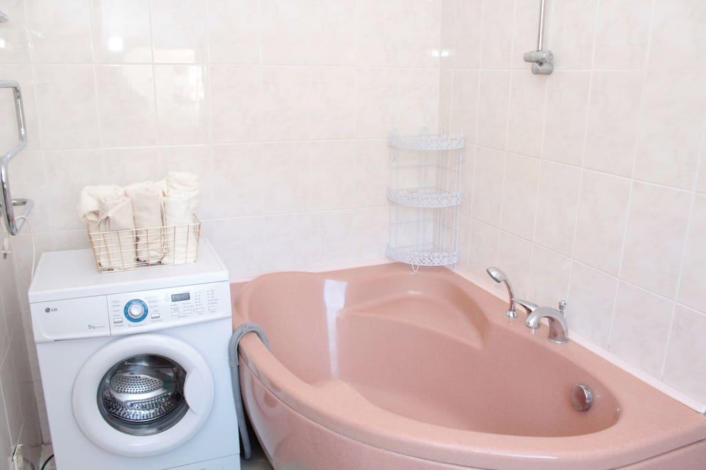 Hot tub and a washing machine