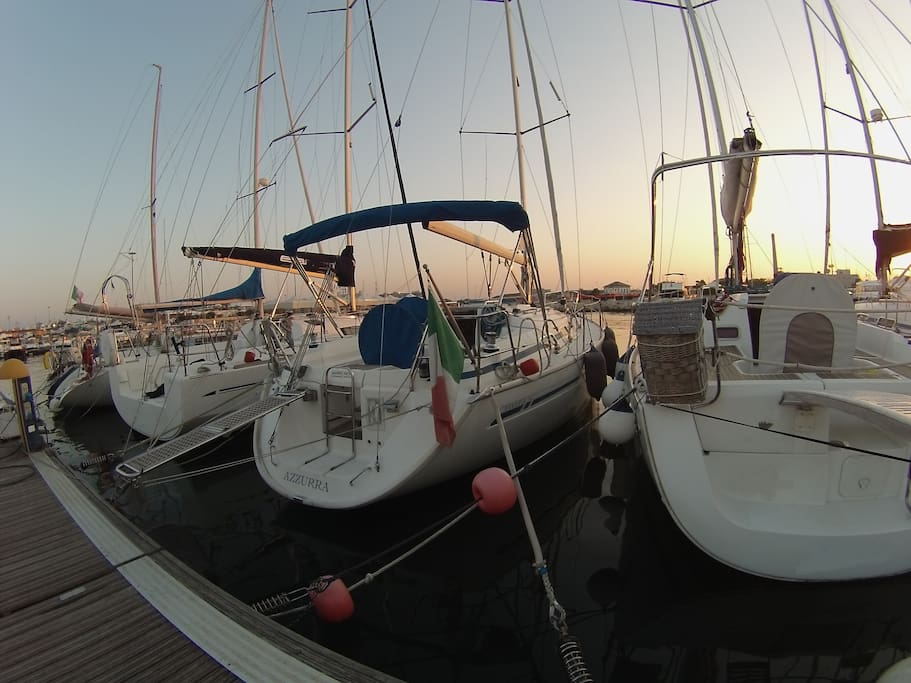 This is Azzurra moored in the marina  of University Sport Center  in  Bari